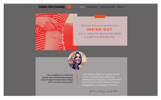 grey, pink and orange colours on website for sabrina picot